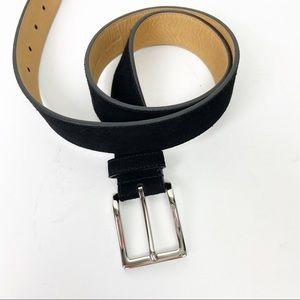 COLE HAAN Black Suede Belt Silver Hardware